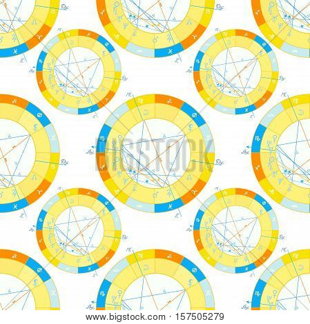 seamless pattern of natal astrological chart zodiac signs vector illustration