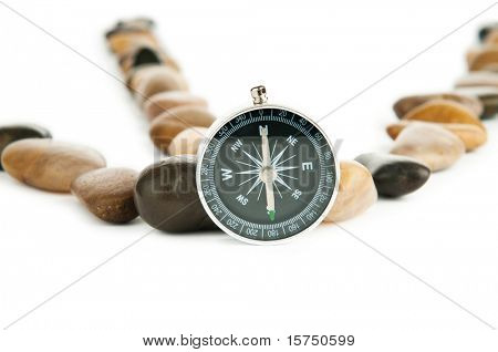 Pebbles and pebbles isolated on white poster