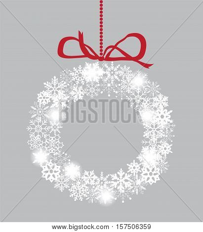 vector illustration of a snowflake Christmas wreath with red ribbon holiday background