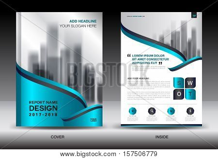 Blue Cover Annual report brochure flyer template creative design, cover design, cover and inside page layout, infographics vector