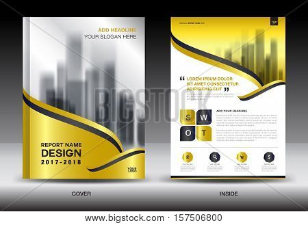 Gold Cover Annual report brochure flyer template creative design, cover design, cover and inside page layout, infographics vector
