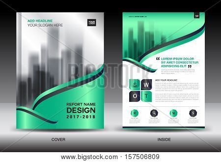 Green Cover Annual report brochure flyer template creative design, cover design, cover and inside page layout, infographics vector
