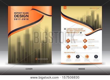 Orange Cover Annual report brochure flyer template creative design, cover design, cover and inside page layout , infographics vector