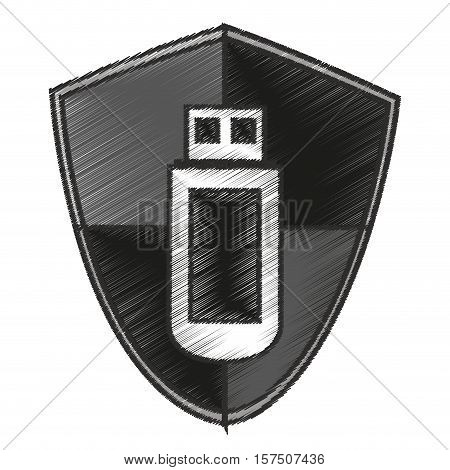 Usb inside shield icon. Connection technology equipment and hardware theme. Isolated design. Vector illustration