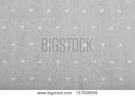 light natural linen texture for the background with smool hearts
