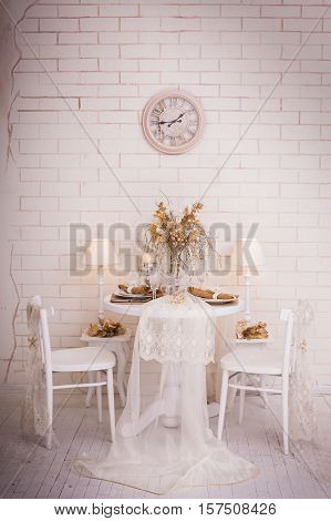 Christmas day interior design of white dining room. New Year winter background