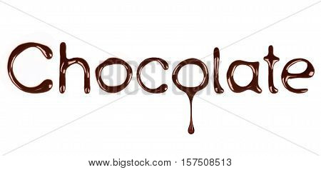 the word Chocolate written by liquid chocolate on white background