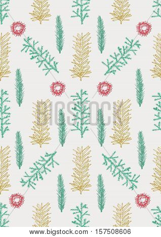Seamless Pattern With Hand Drawn Pine Fir Branches
