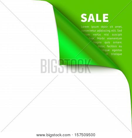 Curled corner vector illustration, isolated white paper green curl with shadow. Top corner flip over on green background with sample text