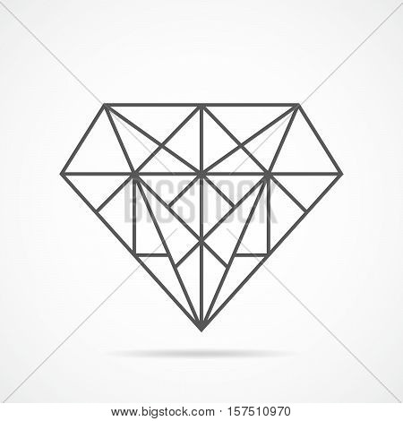 Abstract diamond icon in flat style. Vector illustration. Gray sign of diamond isolated on light background.