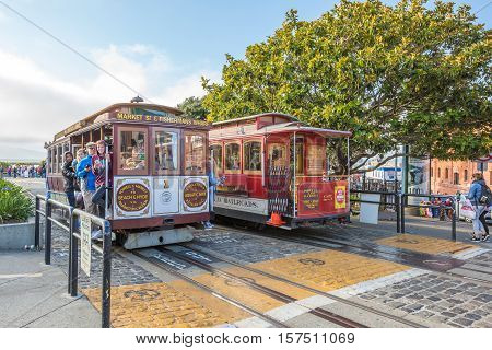 San Francisco California United States - August 14 2016: Cable Car Turntable or terminus of the famous tourist attraction Powell-Hyde lines in Jefferson Street near Fishermen's Wharf.