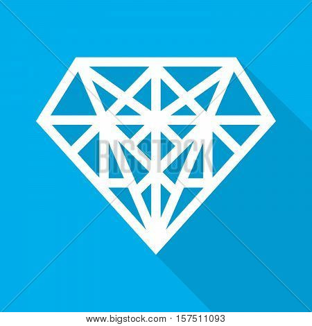 Simple diamond icon in flat design. Vector illustration. White sign of diamond with long shadow on blue background.