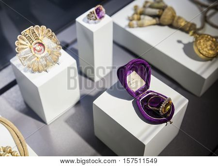 SANTANDER SPAIN - AUGUST 19: Royal jewelry exposed in the Cathedral museum on August 19 2016