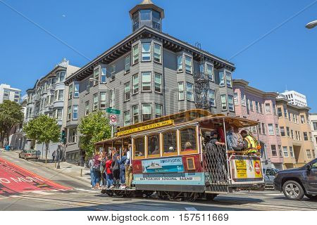 San Francisco, California, United States - August 17, 2016: Cable Car, Powell-Manson lines, of San Francisco full of tourists crossing the famous Powell Street, the most famous and tourist tram line.