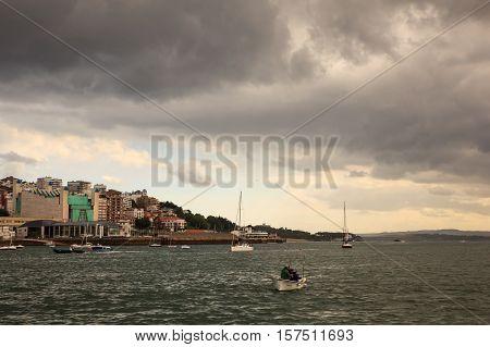 SANTANDER SPAIN - AUGUST 19: View of Santander from sea on August 19 2016