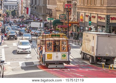 San Francisco, California, United States - August 17, 2016: passengers enjoy a ride in Cable Car Powell-Manson lines, on the Powell Street, Union Square area, in San Francisco downtown.