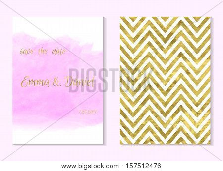 Set of 2 pink and gold invitation card wedding invitationgreeting card or postcards. Place for your text. Classic chevron. Art watercolor pink stain. Vector editable template. Abstract background.