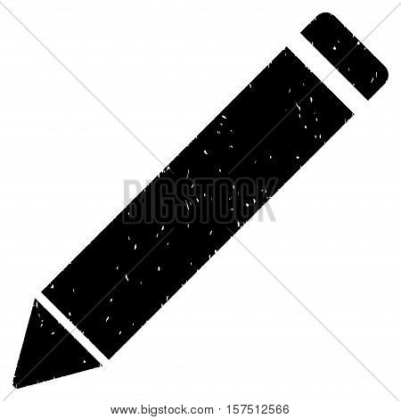 Edit Pencil grainy textured icon for overlay watermark stamps. Flat symbol with dirty texture. Dotted vector black ink rubber seal stamp with grunge design on a white background.