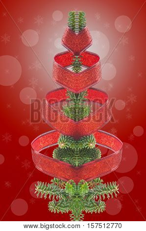 Christmas Tree On White And Red Background
