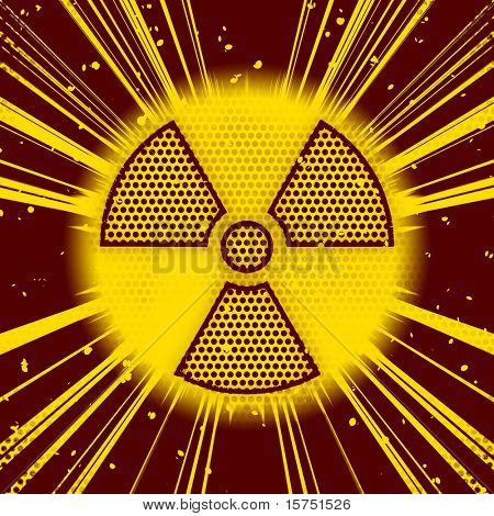 An image of a radioactive sign explosion