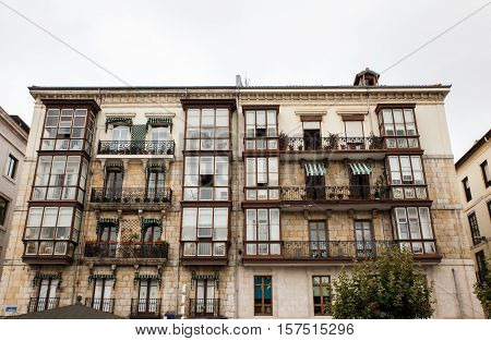 View of typical building of Santander Spain