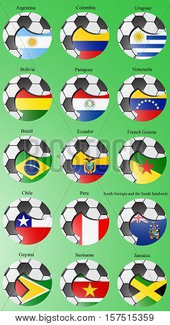 Set Of Icons. Flags Of The South And Central America With Soccer Ball. Vector. 3D.