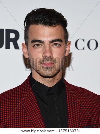 LOS ANGELES - NOV 14:  Joe Jonas arrives to the Glamour Celebrates Women of the Year Awards 2016 on November 14, 2016 in Hollywood, CA