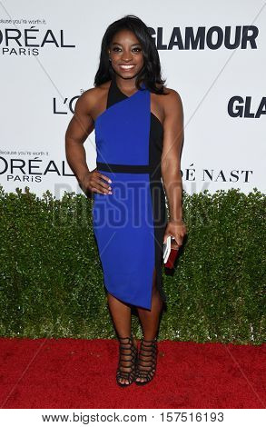 LOS ANGELES - NOV 14:  Simone Biles arrives to the Glamour Celebrates Women of the Year Awards 2016 on November 14, 2016 in Hollywood, CA