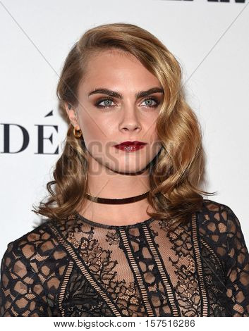 LOS ANGELES - NOV 14:  Cara Delevingne arrives to the Glamour Celebrates Women of the Year Awards 2016 on November 14, 2016 in Hollywood, CA