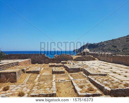 Gorgeous Cretan Sea. Seascape blue water, the city's attractions.