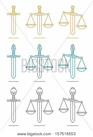 Sword and scales of justice in gold, blue and gray over white background. Includes imbalanced versions.