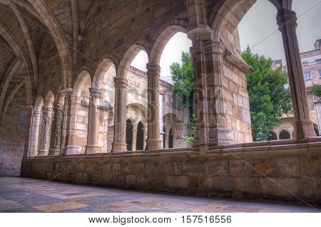 View of the Ghotic Cloister of the Santander cathedral Spain