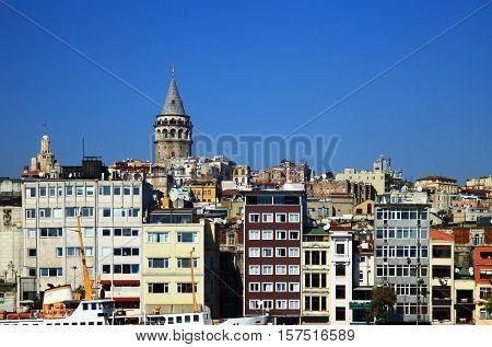 View of the Karakoy, Istanbul. Turkey. Blue Sky.