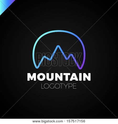 Round Logo With Mountain Triangle Profile Inside. Geometric Tech Outline Style.