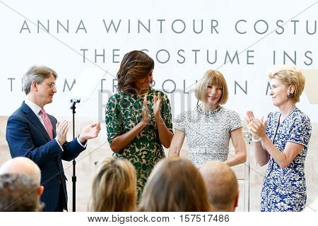 NEW YORK-MAY 5: (L-R) Thomas Campbell, Michelle Obama, Anna Wintour & Emily K. Rafferty at the Anna Wintour Costume Center Grand Opening at Metropolitan Museum of Art on May 5, 2014 in New York City.