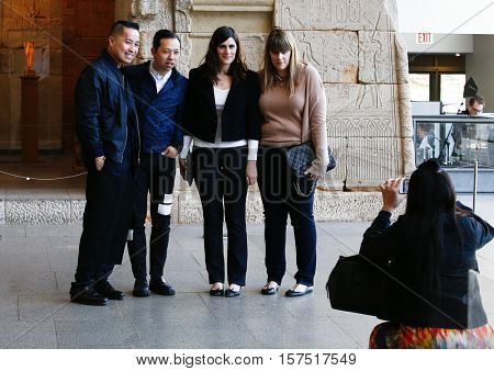 NEW YORK-MAY 5: (L-R) Phillip Lim, Humberto Leon, Kate Mulleavy, Laura Mulleavy & Carol Lim at Anna Wintour Costume Center Grand Opening at Metropolitan Museum of Art on May 5, 2014 in New York City.