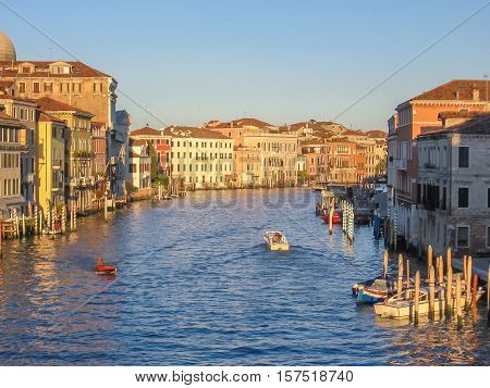 Aerial view of Canal Grande from the Scalzi Bridge, on the main grand canal of Venice at sunset.