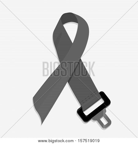 Safety auto seat belt. Flat vector illustration