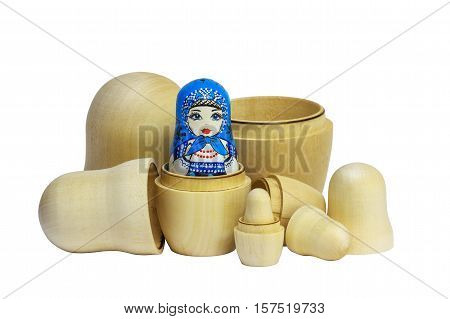 Traditional Russian matryoshka dolls. Painted matryoshka. Matryoshka blue blanks for painting dolls (clean matryoshka).