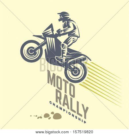 Moto rally. Sport emblem