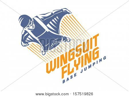 Wingsuit flying. Sport emblem