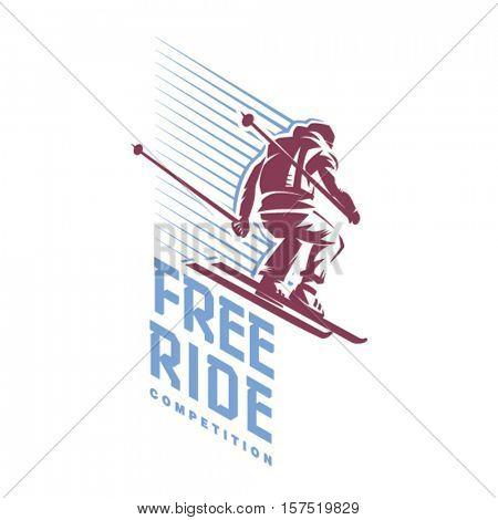 Trick of skier. Free ride. Sport emblem