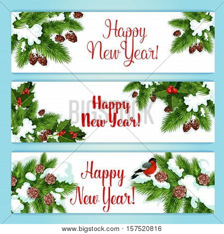 New Year banner set. Holly berry and green tree branches with red ilex fruit, cone and bullfinch. Snowy New Year tree banners set for winter holiday design