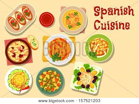 Spanish cuisine lunch icon with onion tapas, fish sandwich, grilled vegetables, shrimp soup, potato bean salad, sardine salad, bean soup with sausage, tuna salad with egg