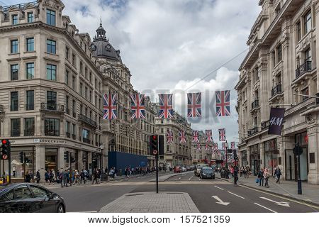 LONDON, ENGLAND - JUNE 16 2016: Clouds over Oxford Street, City of London, England, Great Britain