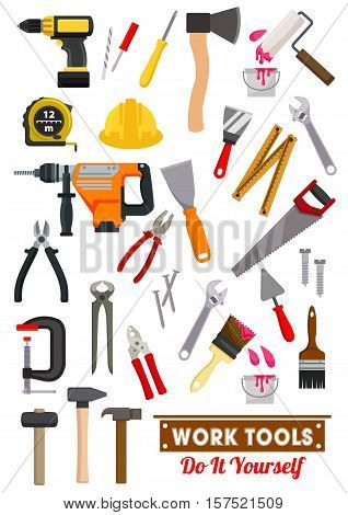 Work tools icons set with hammer and spanner, screwdriver, wrench, pliers, saw, measuring tape and axe, paint roller, brush, drill and spatula, nail and screw, trowel. Carpentry and building industry design