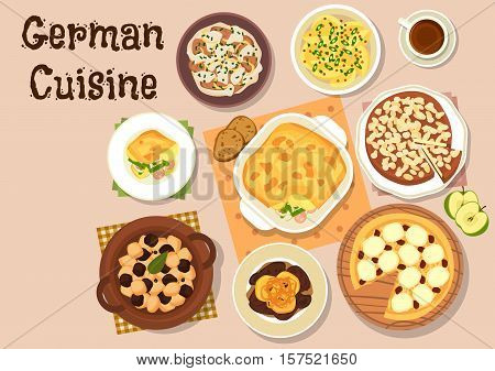 German cuisine icon with berliner pork liver with apple, mustard potato, beef stew with sour cream, vegetable sausage casserole, pork kidney beef stew, apple pie and cheesecake