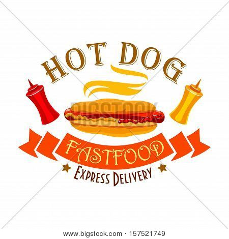 Hot dog sign of fast food sandwich with sausage, ketchup and mustard sauces in wheat bun, ribbon banner and text Express Delivery