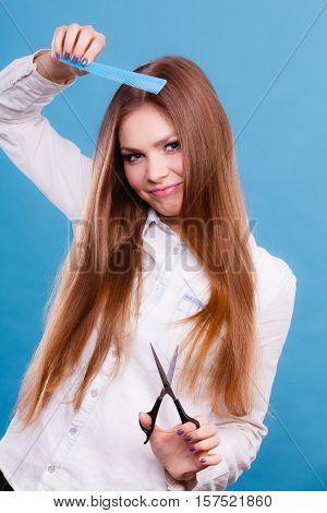 Prepared Girl To Cut Her Long Straight Hair.