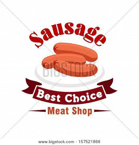 Beef sausage isolated sign with fresh frankfurter on plate, framed by red ribbon banner and header. Meat shop, butchery or livestock farm design